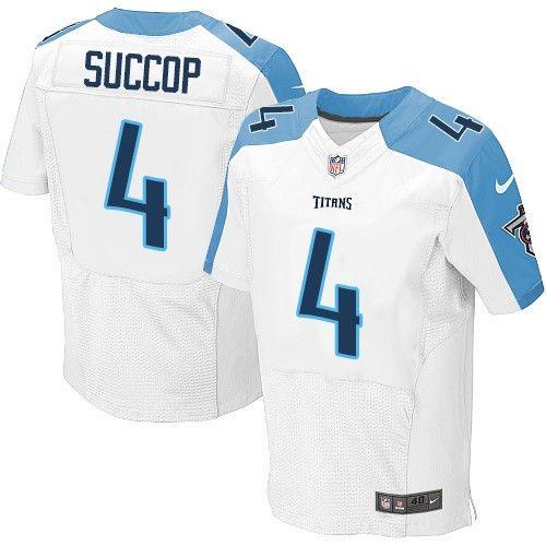 Nike Elite Ryan Succop White Men's Jersey - Tennessee Titans #4 NFL Road