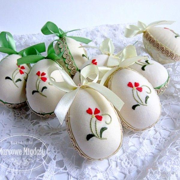 Pisanka wielkanocna, haftowane jajeczko - Wielkanoc - Ozdoby świąteczne