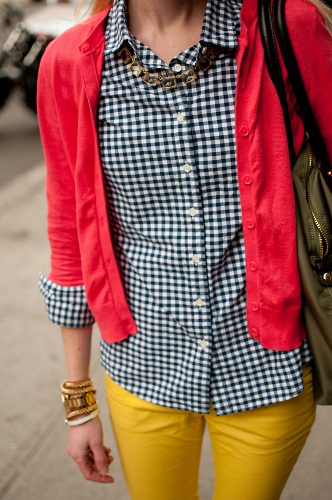 gingham and red, statement necklace and yellow skinnies