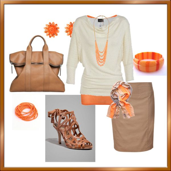 """Creamsicle"" by sapple324 on PolyvoreWomen Fashion, Fashion Guru, Fashion Inspiration, Clothes'S Clothes'S Clothing, Fall Dresses"
