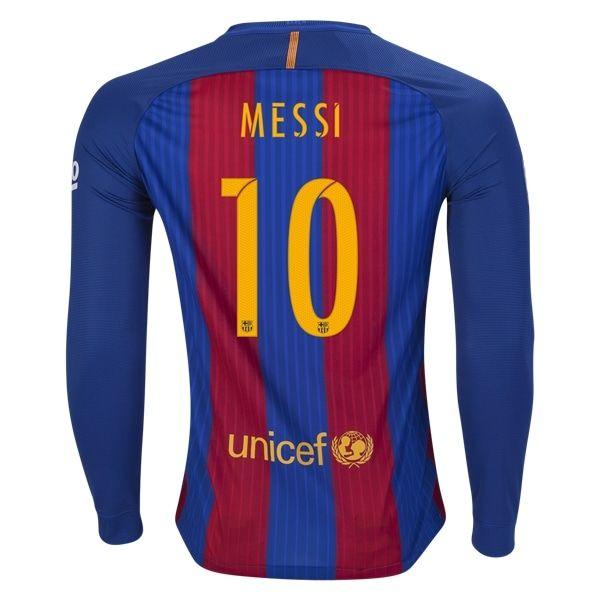 Nike Lionel Messi Barcelona Long Sleeve Home Jersey 16/17 - No Sponsor