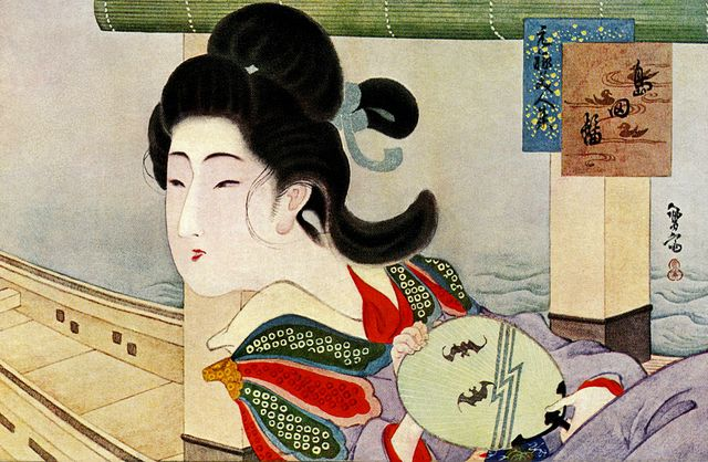 A Japanese Beauty of the Kyoho period (1716-1736), reclining in a yakatabune…