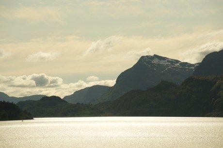 norwegen, see, berge, frühling
