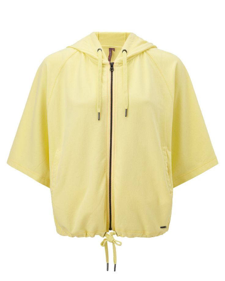 Fashion-forward layer with contemporary aged effect, front pockets and oversized batwing sleeves. Drawcords at the hood and hem enable you to wear this lightweight, zip-through hoodie either fitted or loose. Updated for SS15 in vibrant Primrose Yellow.