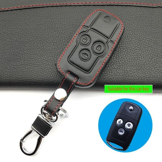 Latest Top Layer Leather Key Case For Car Key Chain For Honda Accord