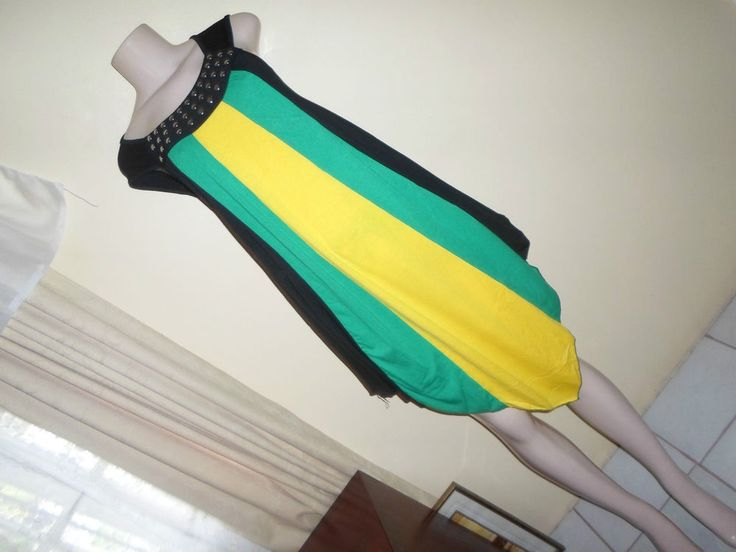 Dress Jamaican Color Sleeveless Solid 100% Cotton Formal Authentic Wear one size