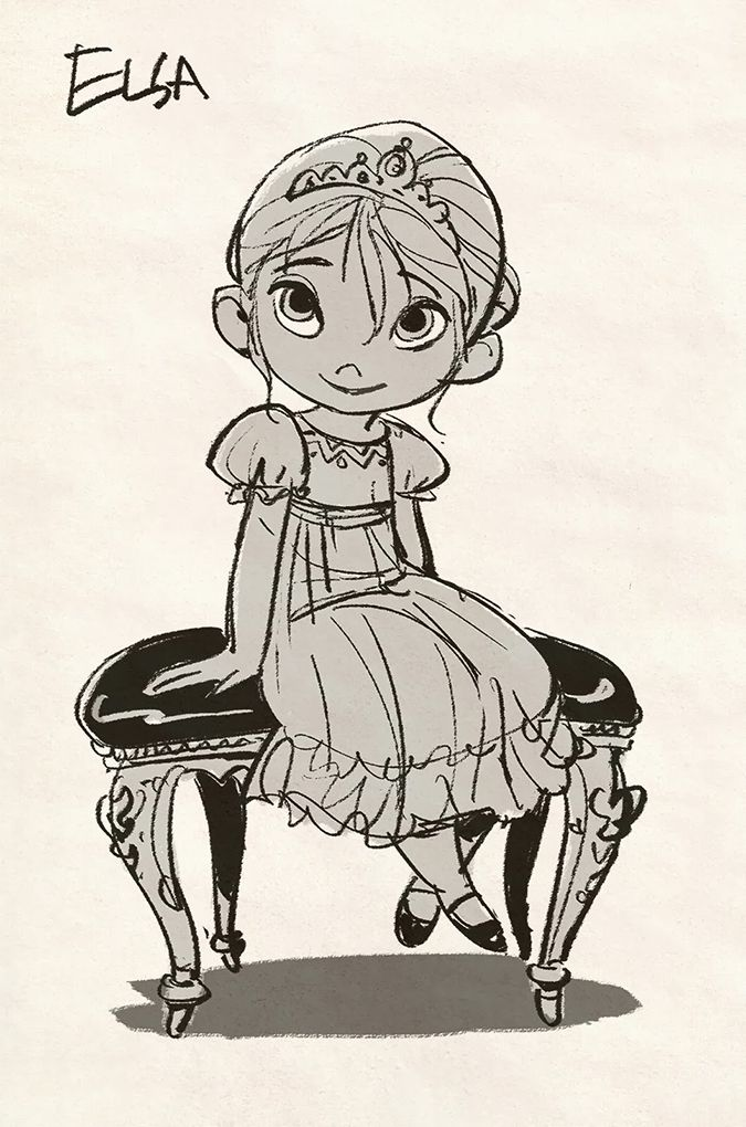 Холодное Сердце: концепт арты с маленькой Анной и Эльзой