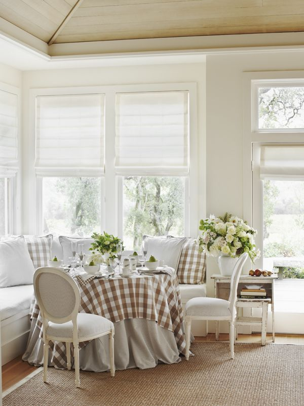 Dining Room With Brown White Gingham Tablecloth Oxford Cloth Stripe Ta