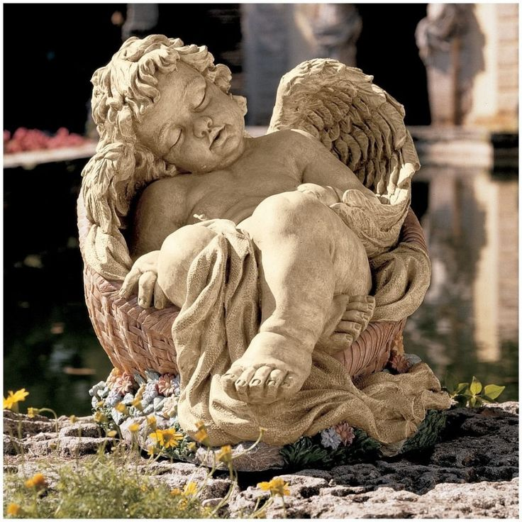 The Design Toscano Statues Medium In. H Afternoon Nap Cherub Is Sculptured  From Designer Resin. This Angel, Asleep In A Basket Of Garden Posies Is ...