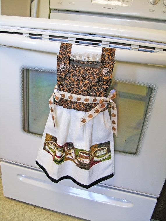Cafe Mocha Oven Door Kitchen Dish Towel Dress by WoopsaDaisies, $24.85