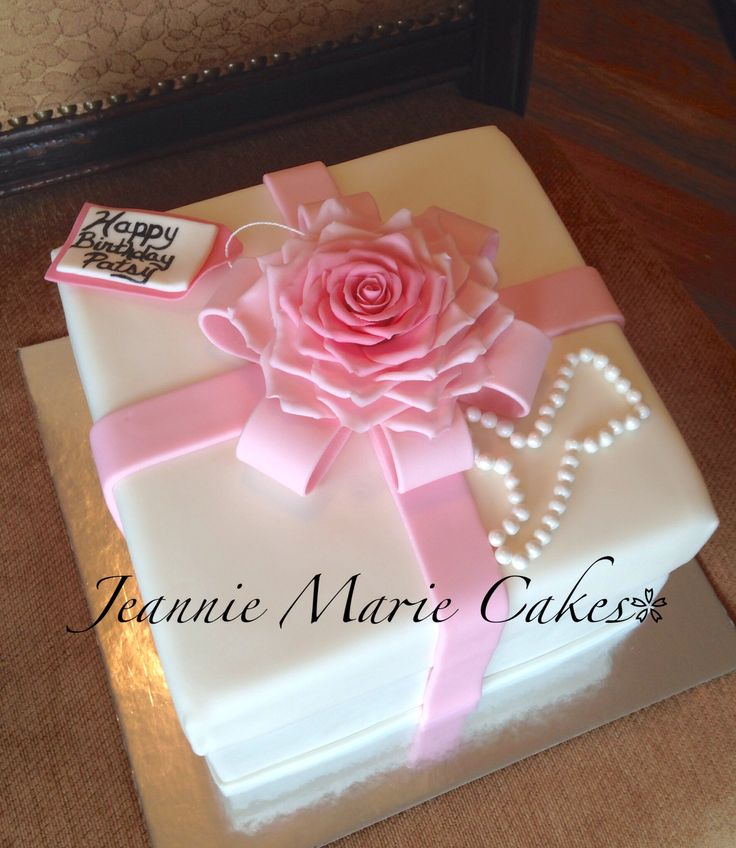 Square gift box cake, pink & white, pink ombre fondant ...