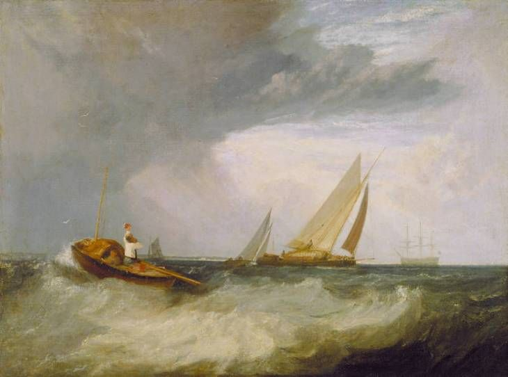 Joseph Mallord William Turner 'Shoeburyness Fisherman Hailing a Whitstable Hoy ('The Pilot Boat'; 'The Red Cap')', exhibited 1809 Photo © National Gallery of Canada, Ottawa