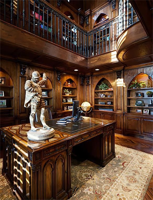 Private Library Study Rooms: Stunning Texas Stone-&-Stucco Estate Located On 7th Hole