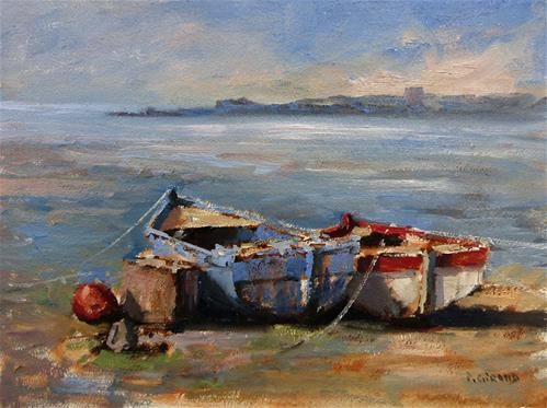 """Daily Paintworks - """"Two Boats"""" - Original Fine Art for Sale - © Pascal Giroud"""