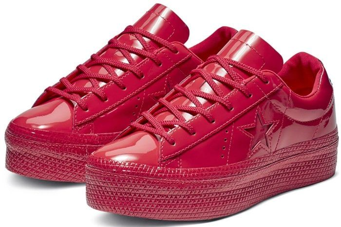 Red converse, High heel tennis shoes