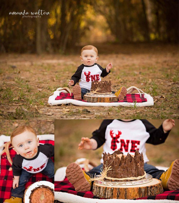 Deer Cake Smash Lumberjack Cake Smash Boy Cake Smash Ideas First Birthday Photography
