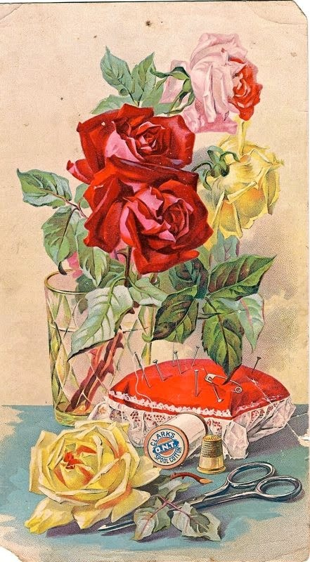 Vintage sewing postcard