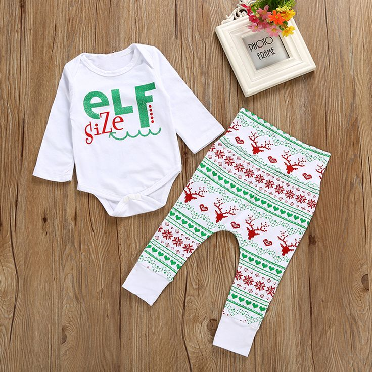 Newborn Baby Girls Christmas Elf Long Sleeve Romper + Soft Pants Outfit Set #ChristmasOutfit