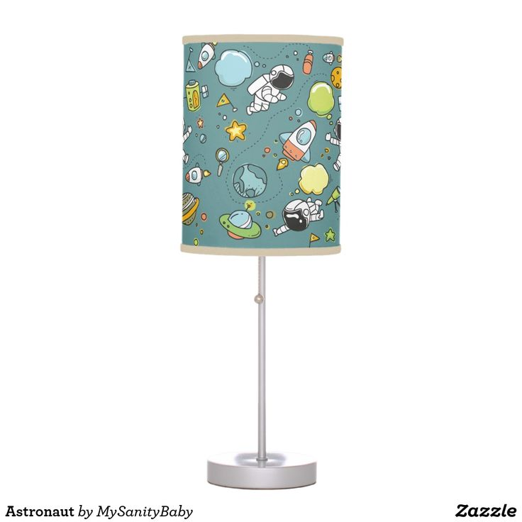 Astronaut Table Lamp: Cute astronauts flying in space are featured in this lamp that will be perfect in a kid's bedroom. Check out in my store other items with the same design to finish the look.