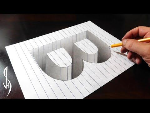 Drawing B Hole in Line Paper – 3D Trick Art Optical Illusion – YouTube – Brück Brigitte