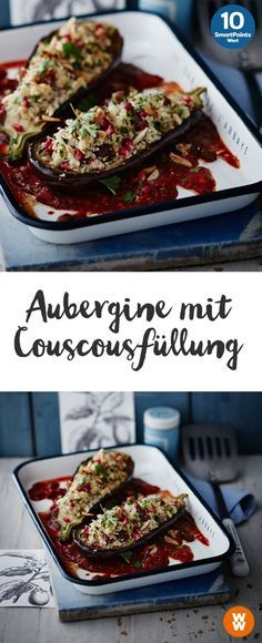 Aubergine mit Couscousfüllung | 10 SmartPoints/Portion, Weight Watchers, fertig in 45 min.