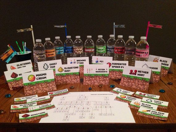 Minecraft Party POTION BREWING Station Kit, Printable PDF - everything you need to set up a potion brewing station at your party!!! Minecraft Birthday Party Printables! Signs, tags, toppers, drink labels & more! Lots of Minecraft party supplies, too! by MinecraftPartySolved #mincraftparty #minecraftprintables #minecraftbirthday