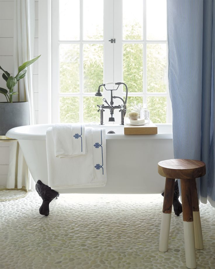 We Love This Elegant Bathroom With Striped Blue Curtains And A Dip