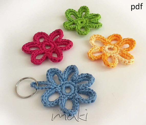 FREE CROCHET PATTERN! Flower applique or key chain! Very easy and fast to make. In about 5 min. Great and cool gift. Pattern No. 117 on Etsy, $0.20