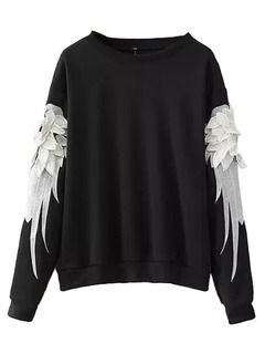 Shop Black Sweatshirt With 3D Wing Sleeve from choies.com .Free shipping Worldwide.