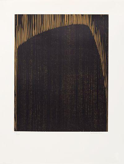 """ANNA-EVA BERGMAN STOCKHOLM 1909 - GRASSE, FRANKRIKE 1987  """"Sort klippe"""" 1974 Fargetresnitt, 84/100. 50/40 cm Signert nede til høyre: A E Bergman Uten ramme  Fra mappen """"L'or de Vivre"""" 1974"""
