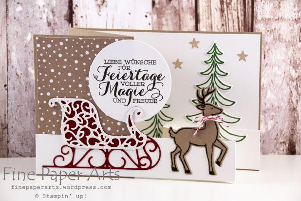 Stampin up - Z-fold card, Christmas card, Weihnachtskarte, Weihnachtslandschaft, Stempelset Weihnachtsschlitten,Thinlits Formen Weihnachtsschlitten, Stempelset Drauf und Dran - Fine Paper Arts