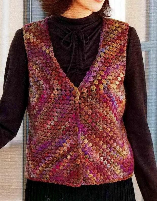 Crochet Sweater: Crochet Vest - Wonderful Classic Vest for Women