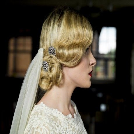 Acorns - pair of diamante hair combs, can be teamed with traditional veil or wear with a birdcage visor veil, or why not gift to bridesmaids? Try them now at Lace & Co. Bridal Boutique #vintage