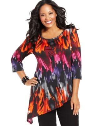 Elementz Plus Size Top, Three-Quarter-Sleeve Printed Necklace Tunic - Plus Size Tops - Plus Sizes - Macy's