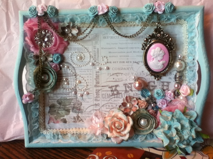 Altered mini shabby chic serving tray