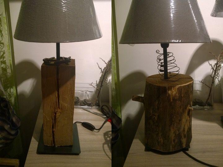 Pöytälamppu Ikea-rungolla ja -varjostimella. Rustic table lamp from reused wood.