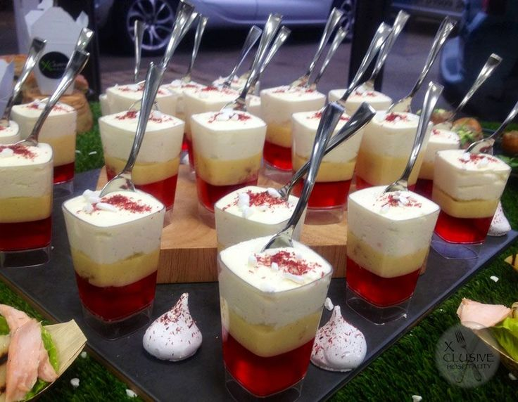 Mini trifles with strawberry dust #catering #events #leicestershirefood #xclusive