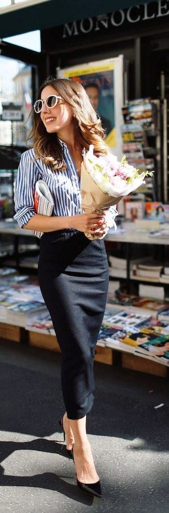 Black midi skirt with striped blue and white collared shirt and black heels