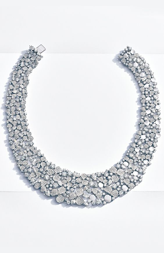 8ab1f700562a Tiffany Paper Flowers™ wide diamond bib in platinum.