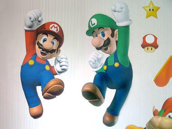 Super Mario & Luigi Jumping, Giant Character Wall Decorations, DIY paper kit (Mario Bros, Mario party, birthday party decoration) via Etsy