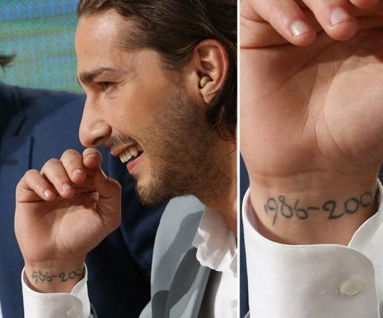 """Shia LaBeouf has dates scribed on the inside of his right wrist that say: """"1986-2004."""" In an interview Shia talked about the dates and referred to the timespan as a reference to his """"childhood."""""""