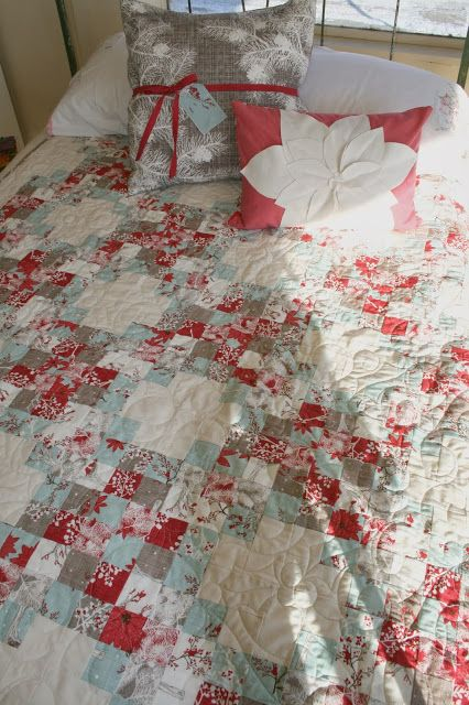 Winter's Lane Christmas Quilt using a jelly roll