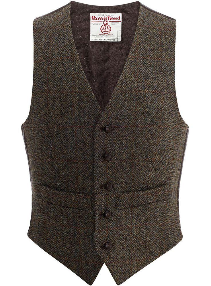 Iain Waistcoat in Dark Brown & Overcheck | Harris Tweed