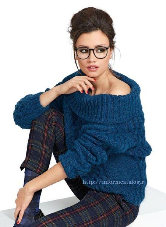 Синий Пуловер с Косами   Ниточка