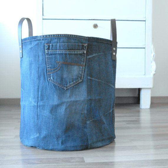 large storage basket made of old jeans laundry basket xxl basket toy bin storage basket canvas