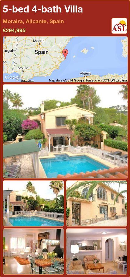 5-bed 4-bath Villa in Moraira, Alicante, Spain ►€294,995 #PropertyForSaleInSpain