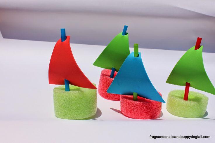 Pool Noodle Boats Water Sensory BinOver 20 Water Bin Play Activities For KidsDIY Pool Noodle Pom Pom Shooter