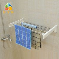 BAOYOUNI accesorios de baño estante de la toalla soporte de pared toalla de baño plegable de acero inoxidable DO-0802