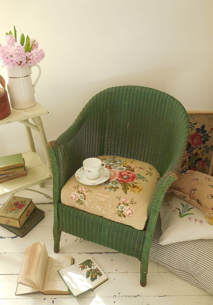 SOLD 1930's Lloyd Loom chair with vintage Sandersons floral linen seat