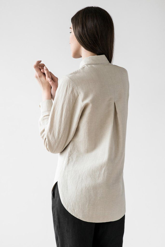 Naomi shirt in cream  - Lithuanian linen is used for its low-impact production and characterful imperfections. Garments defined by modern strokes and organic silhouettes are constructed entirely by hand by tailors paid fairly. This appreciation for local resources and historic processes, combined with a focus on quality, ethics and wearability.
